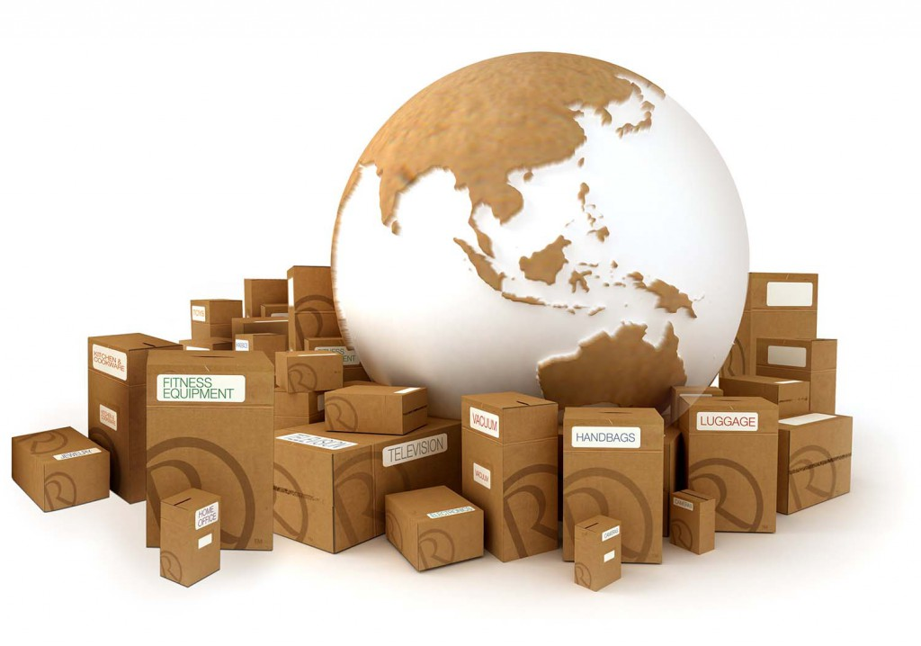 The Earth oriented to Asia surrounded by packages