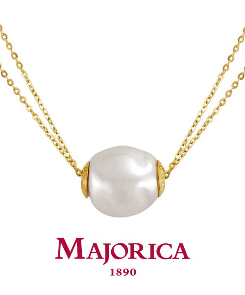 Majorica Gold Two Row White Baroque Pearl Necklace