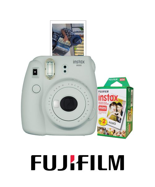Fuji Instax Mini9 Bundle w/20 ExpFilm-Smokey White