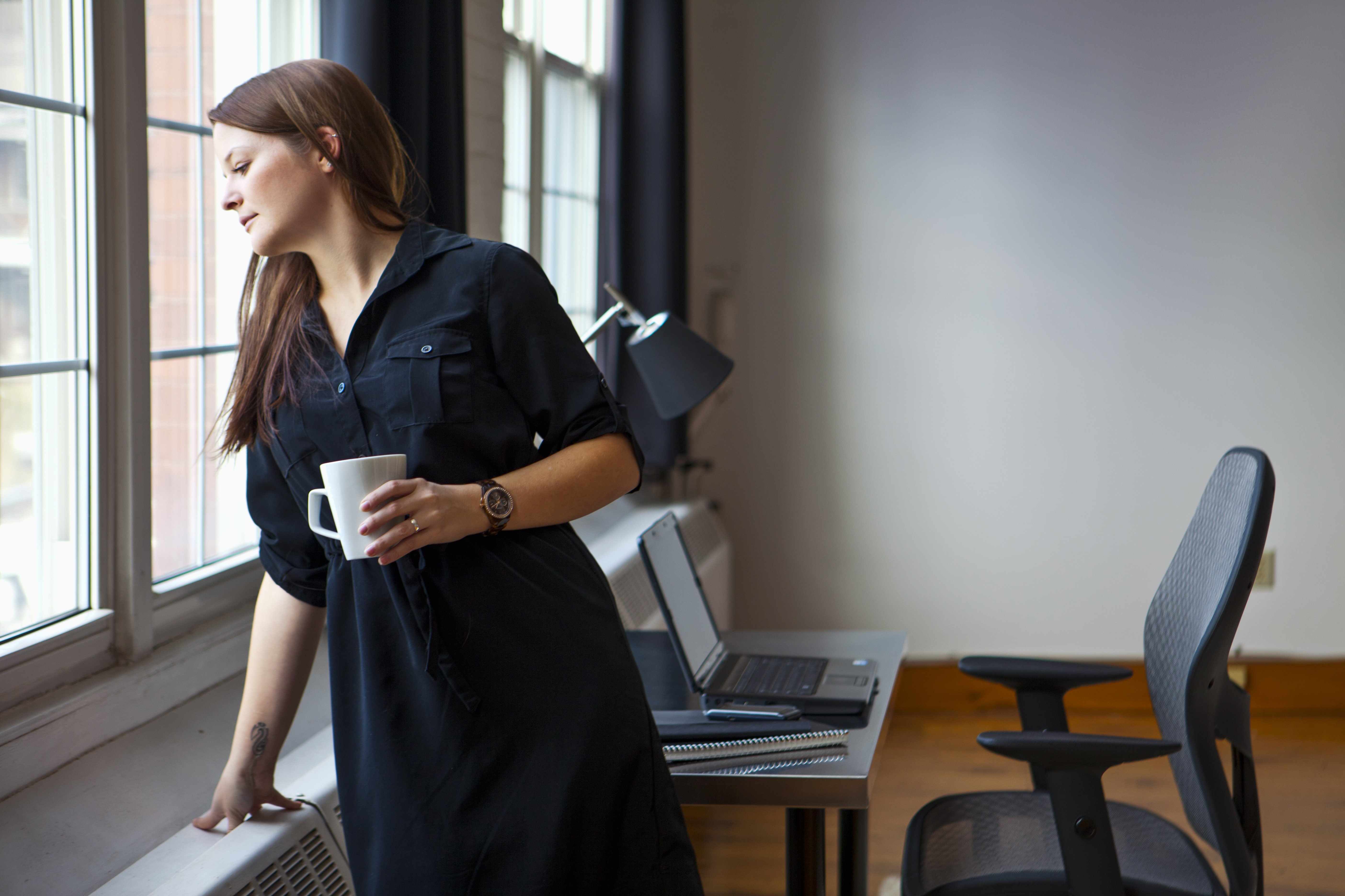 woman taking a break at work